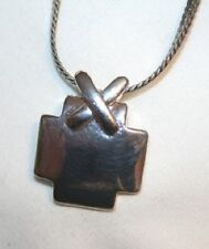 Shiny Squared X-Accented Silvertone Cross Necklace  ++++