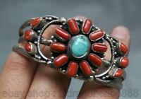 """2.6 """"Tibet tibétain incrustation d'argent corail rouge Turquoise bracelet bijoux"""