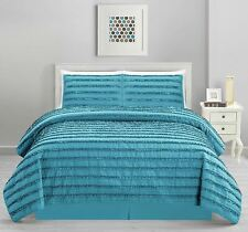 Turquoise Blue Stripe Ruffled 4 pc Quilt Set Coverlet Queen Cal King Bedding