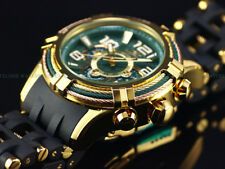Invicta Men 50mm Bolt Green Spider Triple Cable Bezel Chrono 18KG IP SS Watch