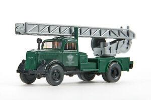 Lot 5580 Wiking Opel Blitz Feuerwehr-Drehleiter, kieferngrün, nur 1988, OVP