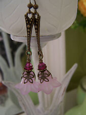 VINTAGE STYLE LUCITE FLOWER EARRINGS - Lilac Pinks Art Deco