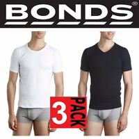 BONDS MENS 3 PACK ROUND CREW RAGLAN NECK COTTON T SHIRT WHITE NAVY BLACK TEE TOP