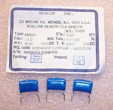 QTY (50) .12uf 400V RADIAL METALLIZED POLYESTER FILM MMDRD120MPFM SEACOR