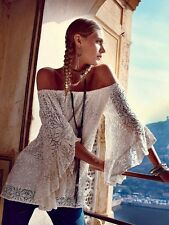 Free People Jen's Pirate Booty Hopelessly Bardot Top Mini Dress French White M/L