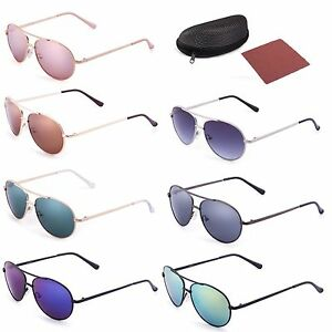 Vintage Aviator Sunglasses For Boys Girls Kids Child Toddler Baby Eyewear Case