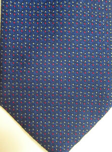CURRENT $230 Brioni Blue With Red, Silver and Gold Dots Handmade Silk Tie