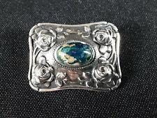 Jugendstil Brosche. 935 Silber mit Mittelstein. ca. 3,5x2,7cm, 9,6gr.