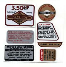 BRIGGS 3.5 hrs.  SMALL  ENGINE  DECAL  SET