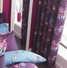 """THERMAL LINED BEDROOM CURTAINS PUPLE BLUE PINK BUTTERFLIES IN HEARTS 66x90"""" DROP"""