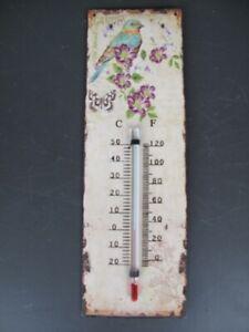 9977716-x Vintage Wand-Thermometer Blechschild Antikstil Blüten Vogel 25x8cm