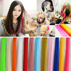Women Lady Long Straight Highlights Clip On In Hair Extensions Piece Synthetic