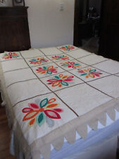 PETAL EDGE FLOWER APPLIQUED QUILT #3C  63 X 80 inches