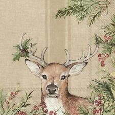 Christmas Deer Light Brown Paper Napkins Festive Lunch Cocktail 3-ply Serviettes