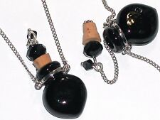 1pc Murano Glass BLACK perfume Heart bottle cork pendant vial locket Necklace *