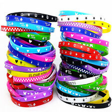 wholesale 100pcs/pack assorted colours silicone rubber wristbands bracelets