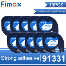 10 PK 91331 Compatible Dymo LetraTag 91201 Plastic Label Tape 1/2'' LT-100H 12mm