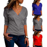 Ladies Tops Sexy V-Neck Slim Frill Sleeve Women Casual T-Shirt Blouse Bottoming