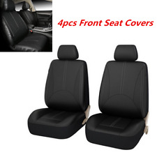 Universal Black PU Leather Car Seat Cover 2 Front Seat Cushion Mat Protector Kit
