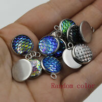 Lots Glitter Resin Mermaid Fish Scale AB Charms Pendant For Necklace Making 12mm