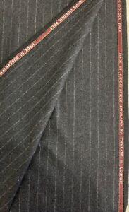 3.5 Metres Charcoal Grey Stripe Flannel 100% Wool Lumbs Golden Bale Suit Fabric