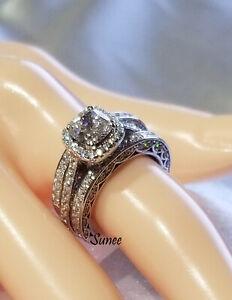 Women 2.5CT Halo Cushion Cut 925 Sterling Silver Engagement Wedding Ring Set