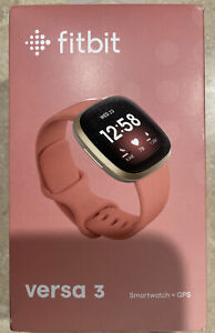 Fitbit Versa 3 40 mm Pink Rubber Case with Gold Aluminum Band GPS Smartwatch