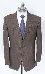 NWT CARUSO Brown Gingham Wool Linen Silk Notch Lapel Sport Coat 46 R (EU 56)