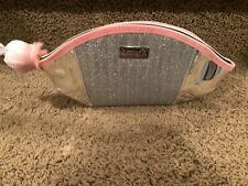 Benefit Limited Edition Dome Metallic Makeup Bag with pink pom pom