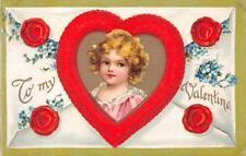 VALENTINE HOLIDAY CHILD HEART FLOWERS ENVELOPE EMBOSSED POSTCARD 1115 (c. 1909)!
