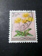 CONGO BELGE timbre 318, FLEURS, oblitéré CACHET ROND, VF used STAMP FLOWERS