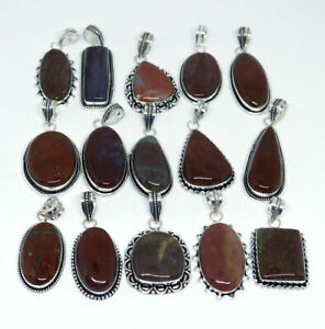 100 Pcs New Lot Natural Red Moss Agate 925 Sterling Silver Plated Pendants VPC26