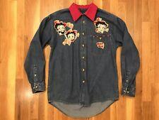 Vintage Luna Pier Women's Denim Betty Boop Jacket Custom Collar/Glam Fits Like L
