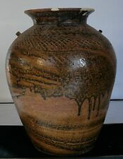 Thai Incised And Brown Glazed Jar San Kampaeng Thailand 14Th - 16Th Century