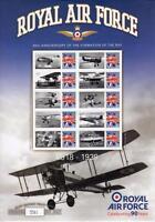 2008 GB BENHAM 90th ANNIVERSARY RAF Smilers Sheet  #1 1918-1939 Royal Air Force