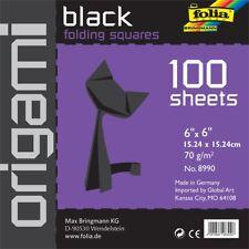 """Folia Solid Origami Paper 6""""x6"""" 100/pkg-black"""