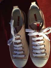 PRADA Sport Patent Leather Nude Cipria Lace Up Sneakers EU 36