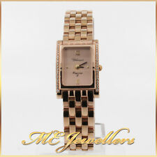 CLASSIQUE Diamonds Bezel Rose Gold Steel Swiss Quartz Ladies Rectangle Watch