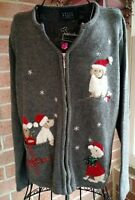 Ugly Christmas Holiday Sweater Womens Size M Crazy Horse Claiborne Gray Dog
