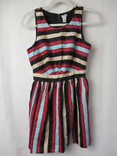 I Love H81 Dress Sleeveless Gathered Skirt Multi Color Stripe Junior Small #7456