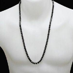 "Mens 10K White Gold Over Necklace Black Diamond Tennis Link Choker Chain 40"""