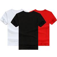Men's Blank Basic Tee Casual Solid O-Neck Short Sleeve T-Shirt Tops Summer S-3XL