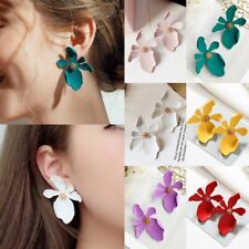 Fashion Women Boho Painting Big Flowers Ear Stud Earrings Ladies Jewellery Gifts