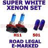 pour Fiat Sedici 2006 ET PLUS SET H11 501 Xénon SUPER BLANC ampoules