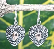 Handmade Sterling Silver .925 Bali Dot/Swirl Teardrop Dangle Earrings w 18k Gold
