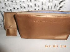 crabtree and evelyn vintage gold leather cosmetic bag and mini manicure set.