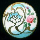 Antique Enamel Button Turquoise Blue with Pink Rose Art Nouveau Design 7 8