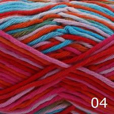Rico Creative Cotton Aran Print Knitting & Crochet Yarn - Red Blue Mix 004