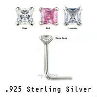 2pcs. 22g - 2mm Square C.Z. Prong Set .925 Sterling Silver L-Shaped Nose Stud