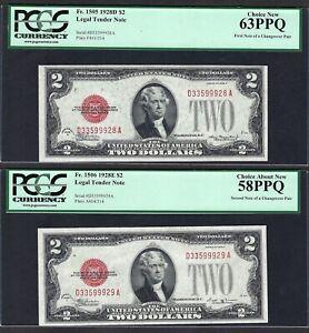 1928D $2 &1928E $2 LEGAL TENDERS ♚♚CHANGEOVER PAIR♚♚ PCGS CH 58 PPQ/CH NEW 63PPQ
